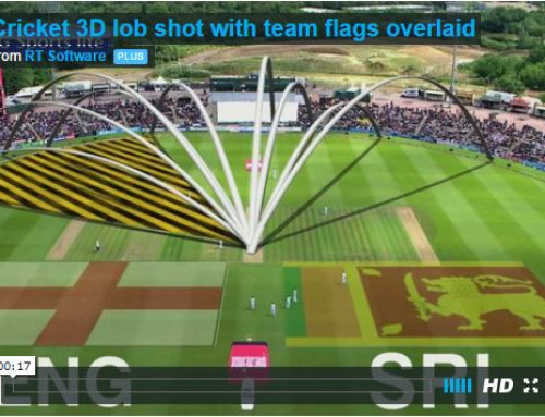 Cricket 3D lob shot with team flags overlaid